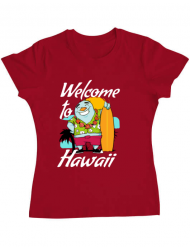 Tricou ADLER dama Welcome to Hawaii Rosu