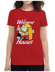 Tricou ADLER dama Welcome to Hawaii Rosu