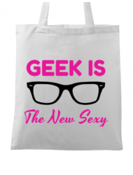 Sacosa din panza Geek is the new sexy Alb