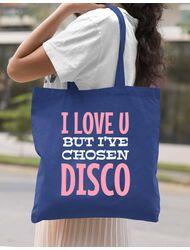 Sacosa din panza I've chosen disco Albastru regal