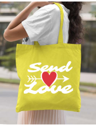 Sacosa din panza Send love Galben