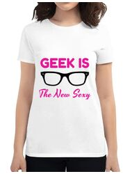 Tricou ADLER dama Geek is the new sexy Alb