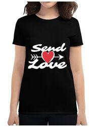 Tricou ADLER dama Send love Negru