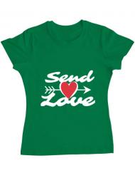 Tricou ADLER dama Send love Verde mediu
