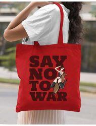 Sacosa din panza Say no to war Rosu