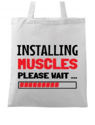 Sacosa din panza Installing Muscles Alb