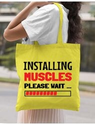 Sacosa din panza Installing Muscles Galben