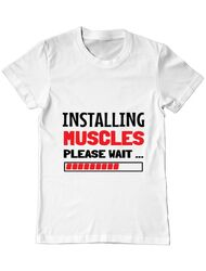 Tricou ADLER barbat Installing Muscles Alb