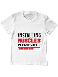 Tricou ADLER copil Installing Muscles Alb
