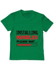 Tricou ADLER copil Installing Muscles Verde mediu