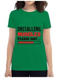 Tricou ADLER dama Installing Muscles Verde mediu