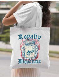 Sacosa din panza Royalty bloodline Alb
