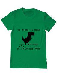 Tricou ADLER barbat The internet is broken Verde mediu