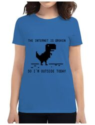Tricou ADLER dama The internet is broken Albastru azuriu