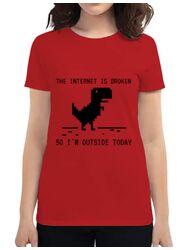 Tricou ADLER dama The internet is broken Rosu