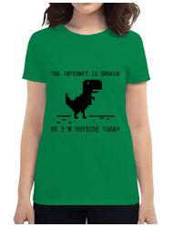 Tricou ADLER dama The internet is broken Verde mediu