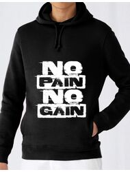 Hoodie barbat cu gluga No pain, no gain Negru