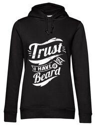 Hoodie dama cu gluga Trust me, I have a beard Negru