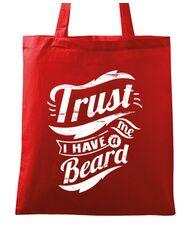 Sacosa din panza Trust me, I have a beard Rosu