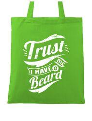 Sacosa din panza Trust me, I have a beard Verde mar