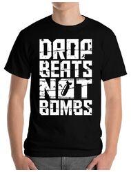 Tricou ADLER barbat Drop beats, not bombs Negru