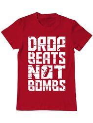 Tricou ADLER barbat Drop beats, not bombs Rosu