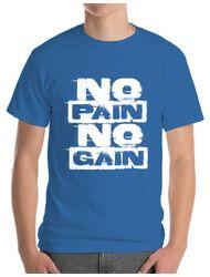Tricou ADLER barbat No pain, no gain Albastru azuriu
