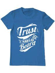 Tricou ADLER barbat Trust me, I have a beard Albastru azuriu