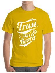 Tricou ADLER barbat Trust me, I have a beard Galben