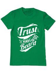 Tricou ADLER barbat Trust me, I have a beard Verde mediu