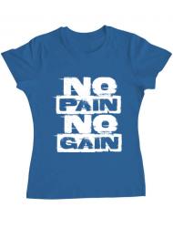 Tricou ADLER dama No pain, no gain Albastru azuriu