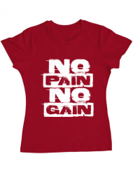 Tricou ADLER dama No pain, no gain Rosu