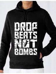 Hoodie barbat cu gluga Drop beats, not bombs Negru