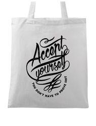 Sacosa din panza Accept Yourself Alb