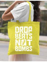 Sacosa din panza Drop beats, not bombs Galben