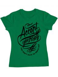 Tricou ADLER dama Accept Yourself Verde mediu