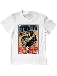 Tricou ADLER copil Health and strength Alb