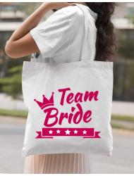 Sacosa din panza Team Bride Alb