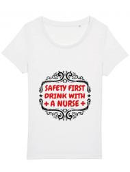 Tricou STANLEY STELLA dama Safety first drink with a nurse Alb