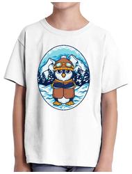 Tricou ADLER copil Winter Penguin Alb