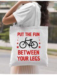Sacosa din panza Put the fun Between your legs Alb