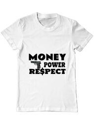 Tricou ADLER barbat Money, power,respect Alb