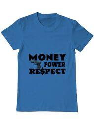 Tricou ADLER barbat Money, power,respect Albastru azuriu