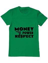 Tricou ADLER barbat Money, power,respect Verde mediu
