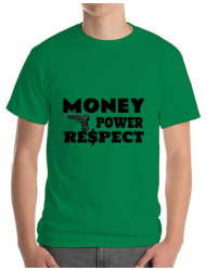 Tricou ADLER barbat Money, power,respect Verde mediu