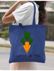 Sacosa din panza I carrot do this Albastru regal