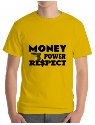 Tricou ADLER barbat Money, power,respect Galben