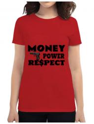 Tricou ADLER dama Money, power,respect Rosu