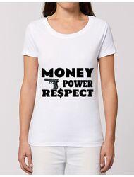Tricou STANLEY STELLA dama Money, power,respect Alb