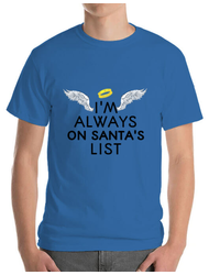 Tricou ADLER barbat Always on santa's list Albastru azuriu